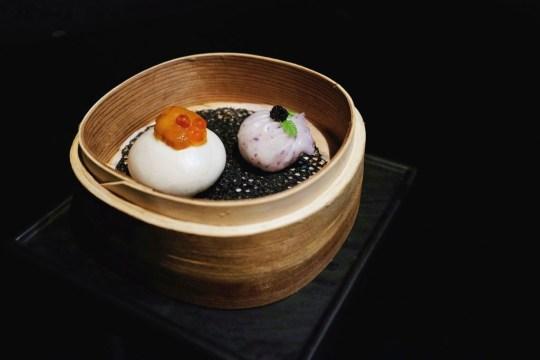 Dim sum platter: Sea urchin custard bun & Truffles shrimp dumpling