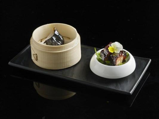 Mitzo Platter - Drunken chicken shrimp dumpling & Espresso BBQ Pork