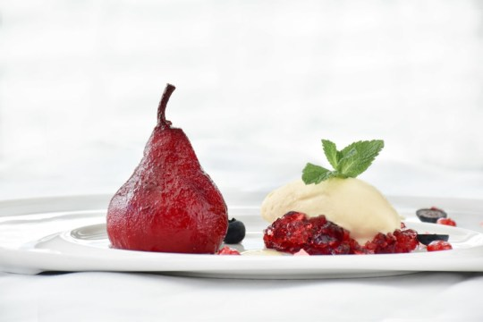 Spiced Red Wine Poached Pear