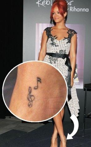 Rihanna Foot Tattoo : rihanna, tattoo, Rihanna's, Music, Tattoo, Ankle-, PopStarTats