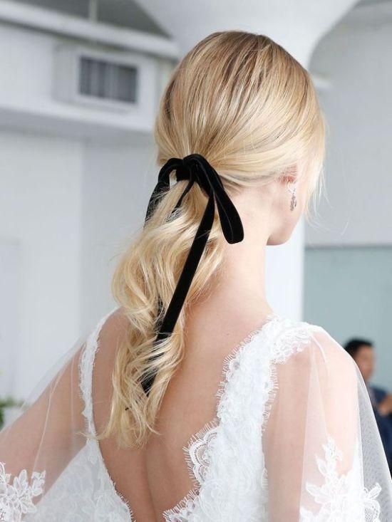 Black Ribbon Bow Tie wedding hairstyle