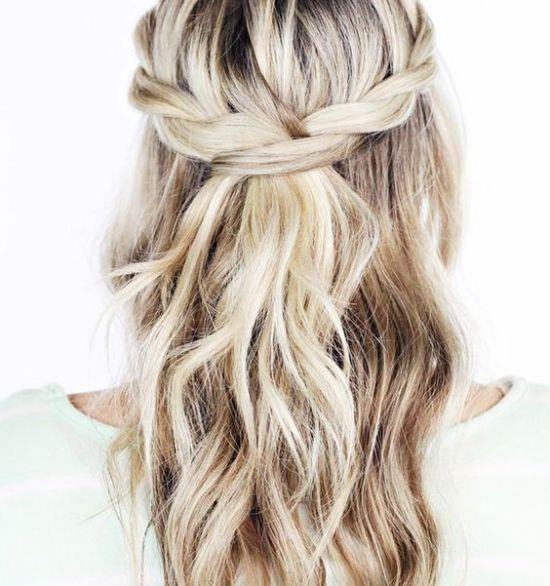 Classical half-up wedding hair style