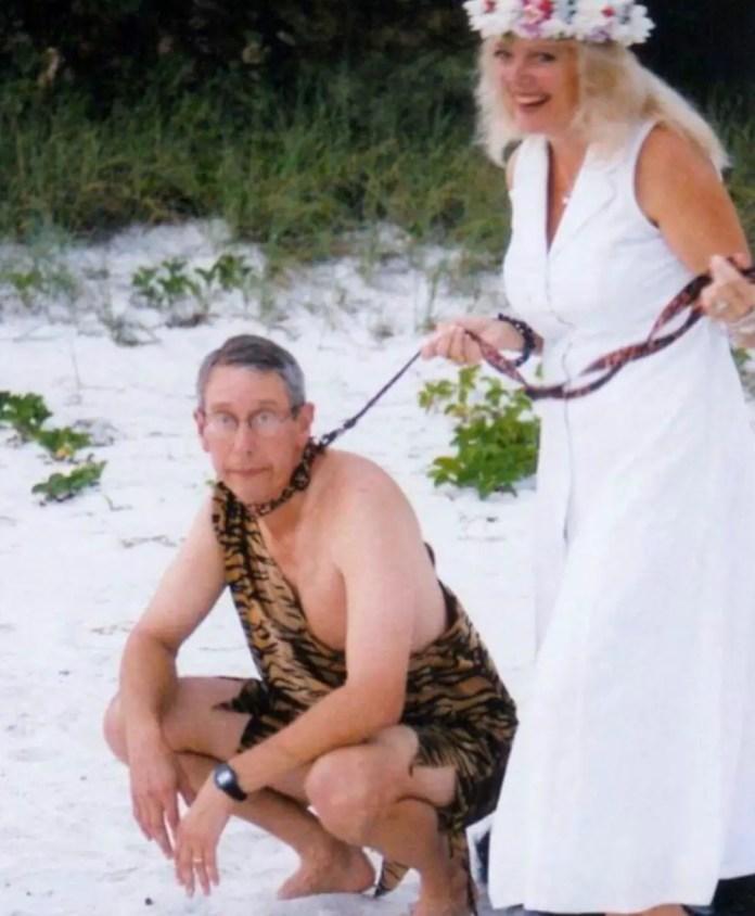 Carole Baskin with her current husband on a leash