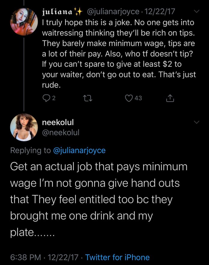 Neekolul poor shaming Tweet 2017