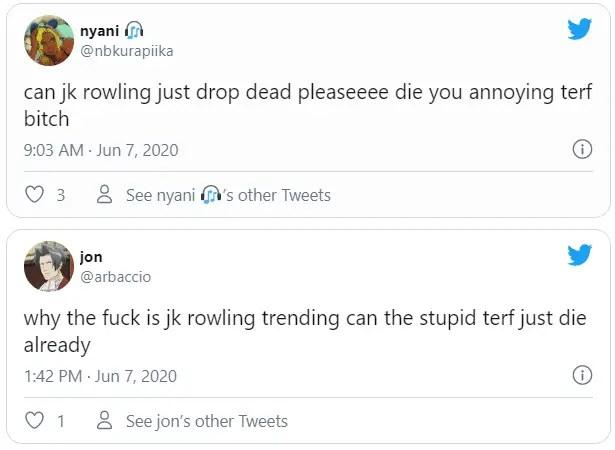 jk rowling death threats
