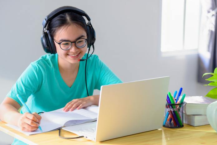 Asian woman student happy in class online learning