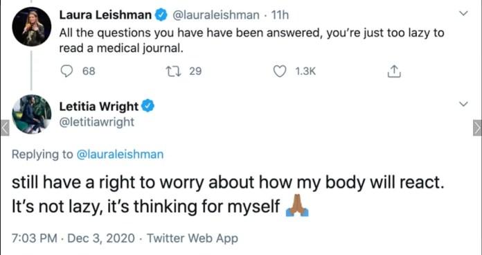 Letitia Wright anti-vax tweet