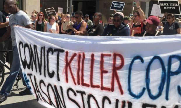 Jason Stoakley protests St Louis