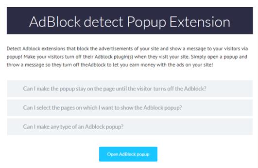 AdBlock detect popup extension