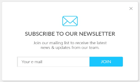 Subscription popup subscribe to our newsletter