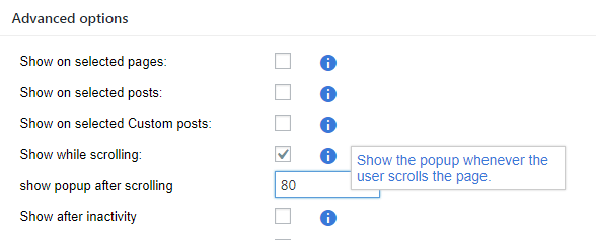 Advanced options where and when to show the popup