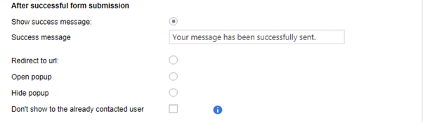 After successful submission show success message redirect to url open another popup close the popup