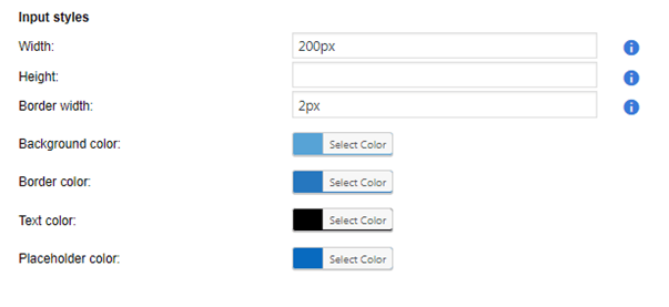 Input styles colors and dimensions