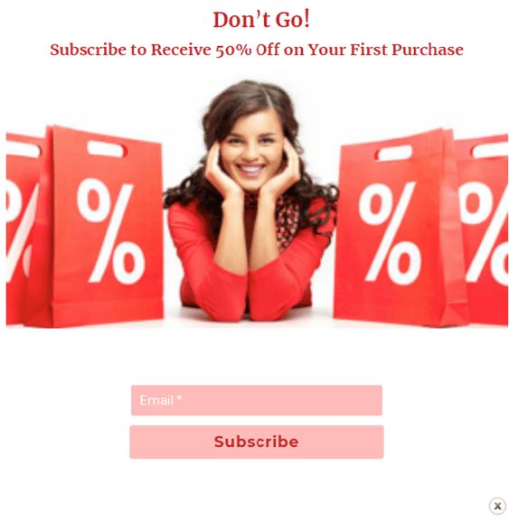 subscription popup a girl offering to subscribe to get a discount