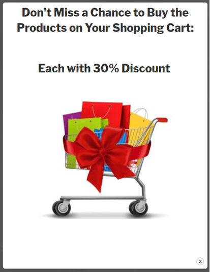 WooCommerce popup parameter total price a shopping basket with purchases disount