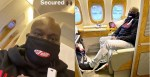 Mompha spotted rocking face mask while flying first class - Fear Of Coronavirus