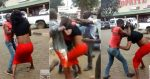 Moment Nigerian man and pretty young lady sported fighting outside Shoprite (photos, video)