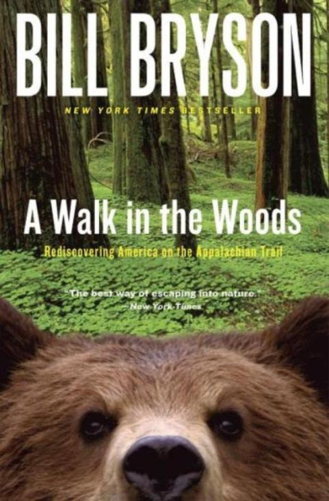 """Bill Bryson - A walk in the Woods"" Book Cover - Bear peeking into camera"