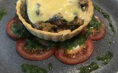 Creamy Mushroom, Pumpkin & Blue Cheese-Tart