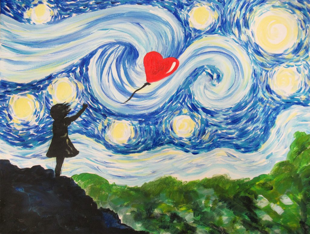 paint starry night balloon