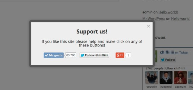 Popups WordPress plugin example.