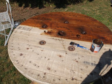 wood stain going on