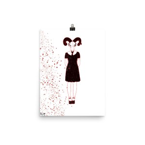 Ritual ram skull girl in dress blood spatter poster