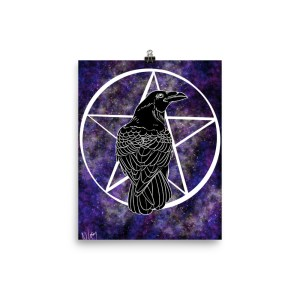 Cosmic Crow pentacle black purple pink cosmos poster