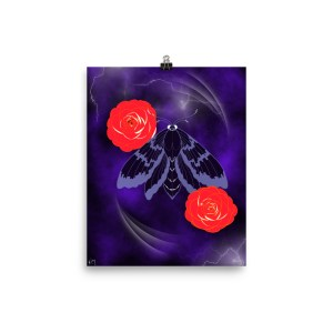 Fly the Lightning purple black moth red rose poster art print