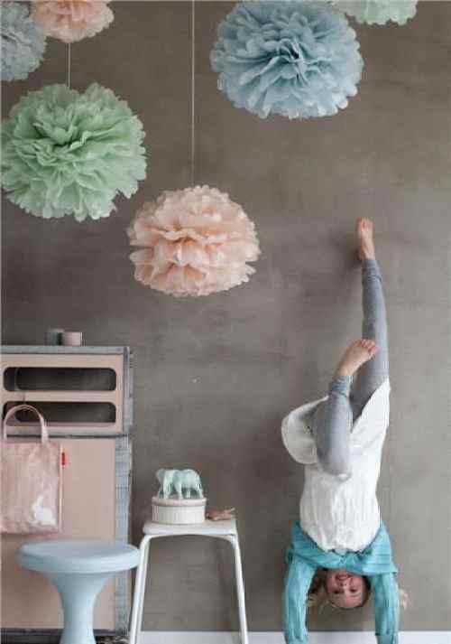 pompones de papel niños