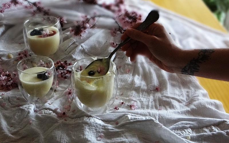 panacota de chocolate blanco