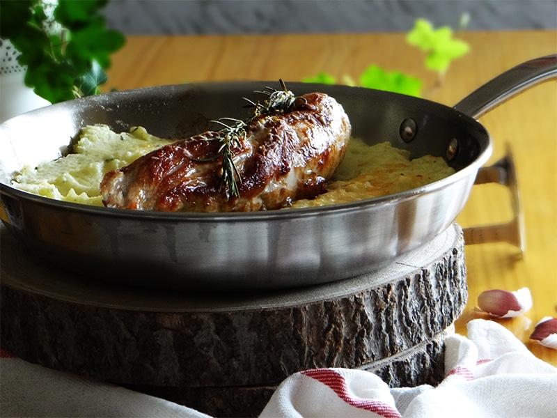 solomillo con puré de patata gratinado