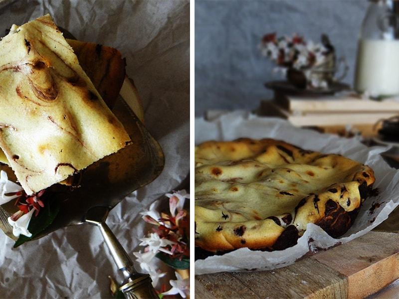 brownie y tarta de queso en uno