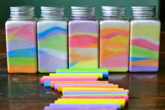 manualidades con sal de colores