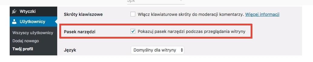 checkbox Pokazuj pasek narzędzi podczas przeglądania witryny