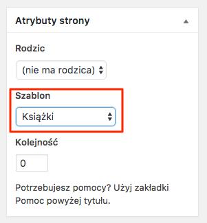 własne typy postów - szablony w ustawieniach strony