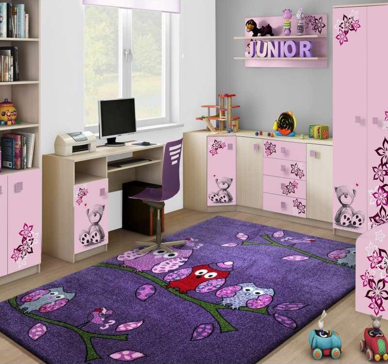 Dywan do pokoju dziecięcego w fioletowe sówki