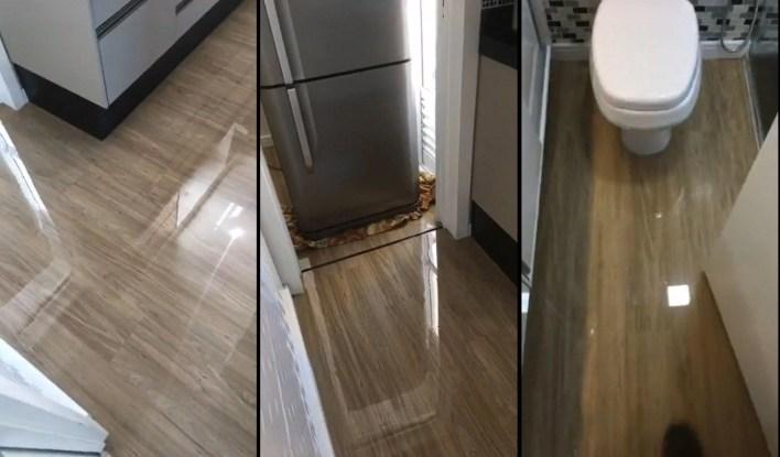 Porcelanato liquido sobre piso laminado