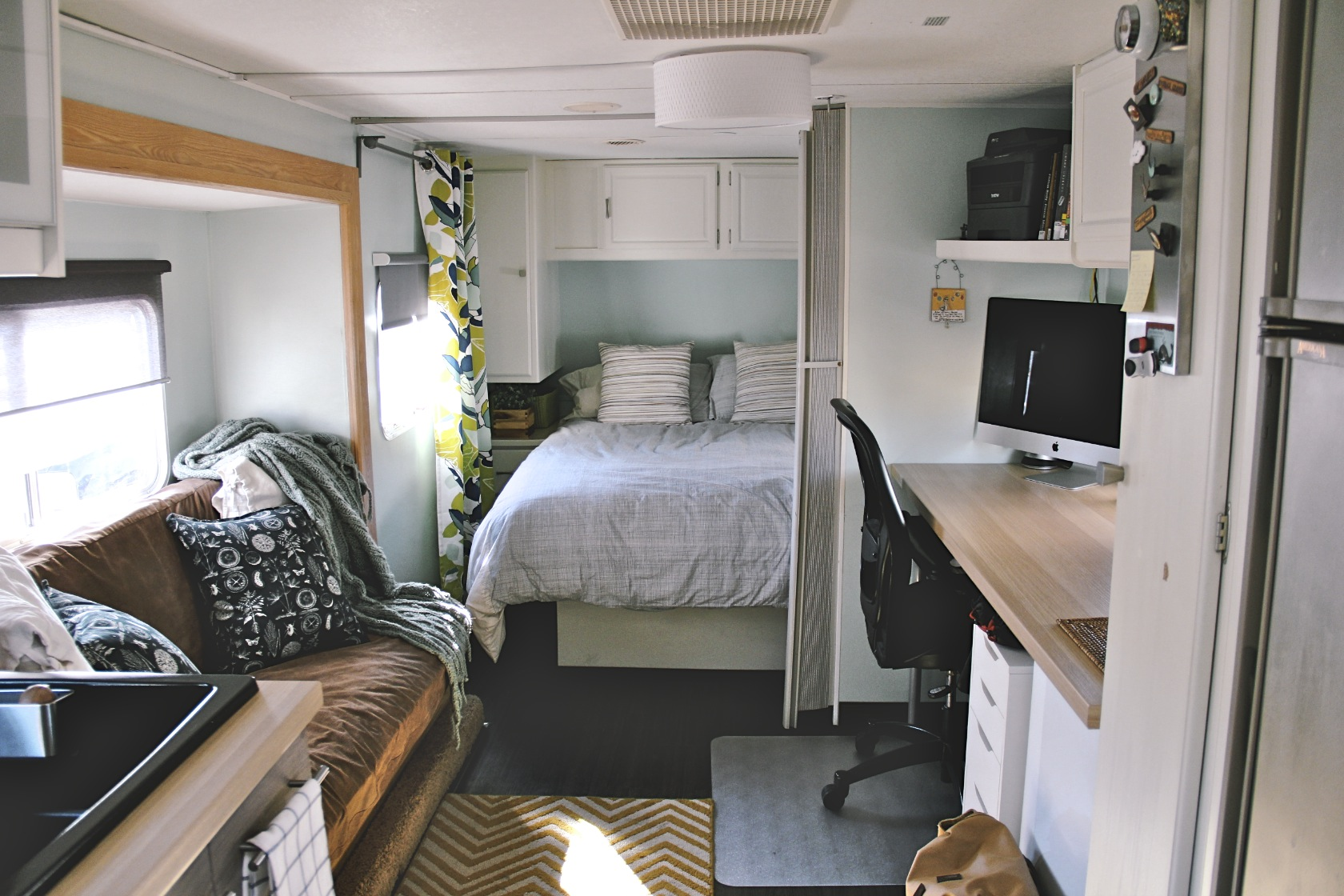 how to make a sofa bed from scratch black table with storage homes on wheels: 5 travel trailer makeovers we love ...