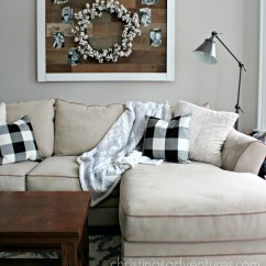 Buffalo Check Sofa Cover Whiskey Leather Transitioning From Christmas To Winter Decor Christinas