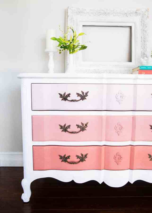 How to refinish furniture with pink ombre paint