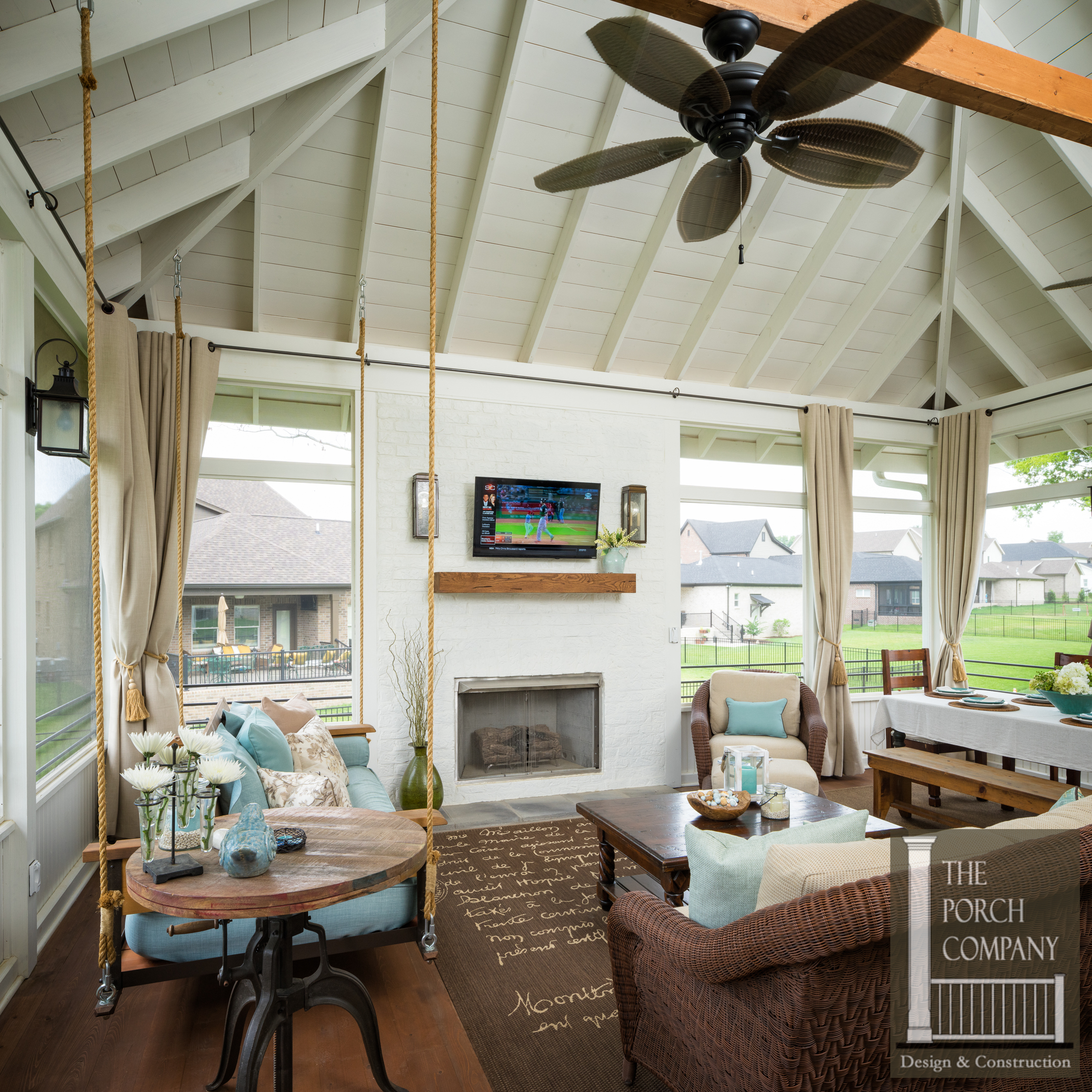 Screened porch with exposed rafter ceilings tongue and