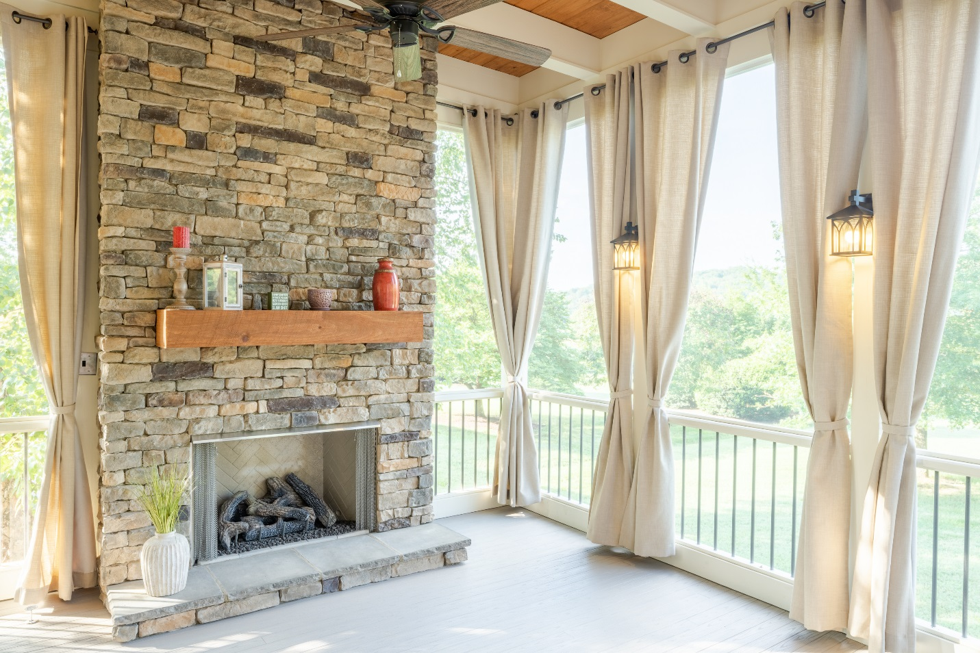 porchco curtains and sconce lighting