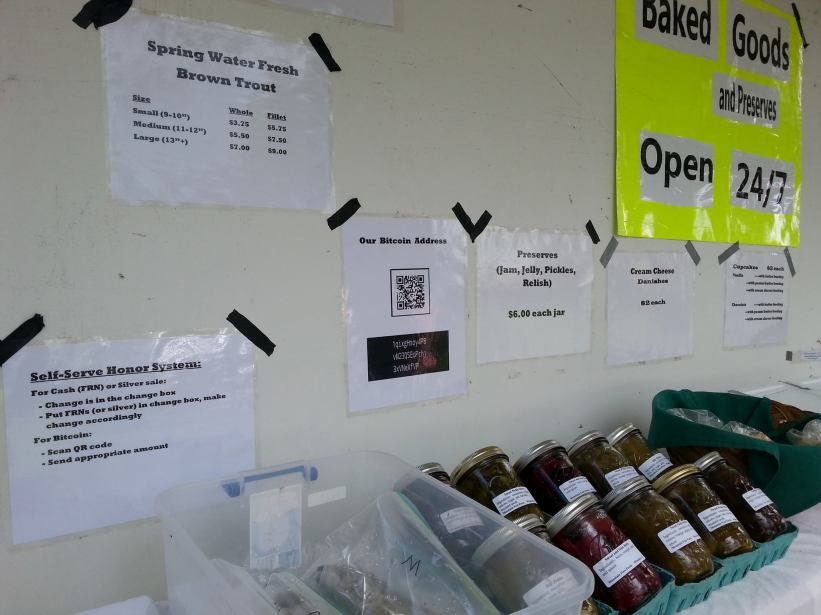 Self-serve baked & canned goods store operating on the honor system.