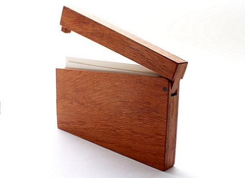 Wood business card cases by masakage tanno por homme business card cases by masakage tanno made from japanese oak or padouk each case has a magnet embedded in the wood to close them shut colourmoves