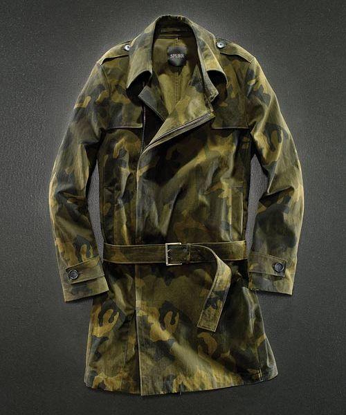 Simon Spurr Cotton Sateen Camouflage Trench Coat