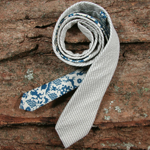 General Knot & Co. | Seersucker Stripe & Vintage 1950's Folk Print Tie