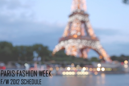 Paris Fashion Week Fall/Winter 2012 Men's Schedule