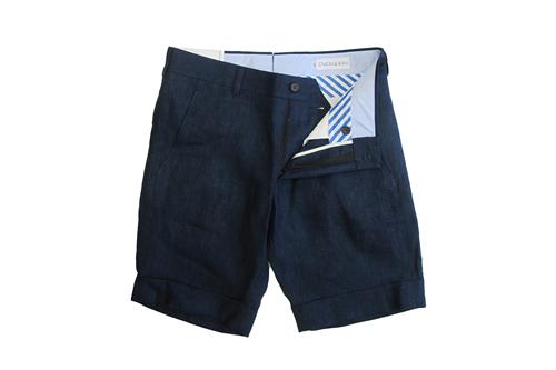Ovadia & Sons Indigo Linen Walking Shorts