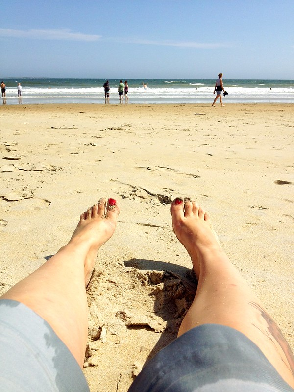 I was sitting on the sand, so of course I had to take a photo of my feet with the ocean in the background.